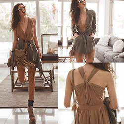 Elle-May Leckenby - Sheinside Twisted Back Pleated Dress, Sheinside Army Green Draw Sting Trench, Bronze Rimmed Shades, Lace Up Beige Boots, Ellie Brown Fringed Sling Bag - Going out for dinner
