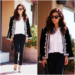 Hallie S. - Jacket, Jeans, Shoes - Black and White