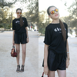 Aigyz Rebelle - Céline Shirt, Zara Shorts, Ray Ban Spectre Sunglasses, Mango Jewelry - All black