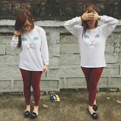 Maria Inah Requerme - Bulletmnl Kitty Sweater, Greenhills Maroon Jeggings, Solemate Mustache Flats - Kitty Go Meow