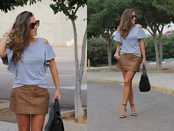 TAMARA M - Zara Skirt, Zara Sandals, Zara Bag, Sheinside Top - Grey!!!