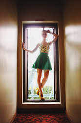 Alysha Nett - Motel Brandy Bralette, Motel Anna Skirt, Pumps - Hall light
