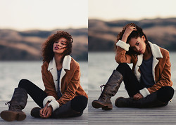 Shemmai Torres - Thrifted Fleece Lined Jacket, Rocket Dog Rideon Boot - Sunset at the docks