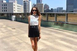 Jade Taylor-Allred - American Apparel Tennis Skirt, Ray Ban Sunglasses, All Saints Blouse, Beirn Clutch, Vintage Jewelry (All) - Business Casual