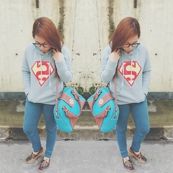 Maria Inah Requerme - Thrifted Superman Hoodie, Landmark Teal Pants, Starshop Teal Bag, Brown Topsider - One day, I'll be saving lives