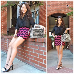 Kimberly Kong - Forever 21 Blouse, Joy Han Fitted Mini Skirt, Dana Buchmann Cap Toed Mary Janes, Chicnova Quadrilateral Statement Necklace, Coach Oversized Sunnies, Kate Spade Striped Bow Bag - The Fitted Mini-Skirt