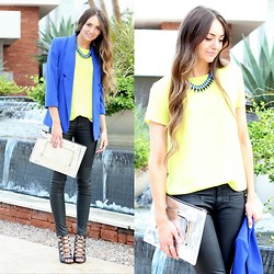 Jackie Welling - Forever 21 Yellow Top, Eliza J Blue Blazer, Asos Chrome Clutch, Asos Coated Denim, Zara Lace Up Heels - A Night Out