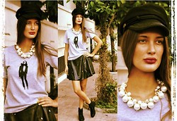 Amina Allam - Choies Navy Cap, Choies Statement Necklace, Choies Studded Leather Skater Skirt, Choies T Shirt - Monochromatic Tuesday