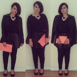 Kiran A - Frontrowshop Skirt, Missguided Neon Clutch, Topshop Leather Jacket, Claire's Accessories Neon Necklace, New Look Heels - A splash of colour on a rainy day