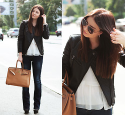 Tania Kourshakova - Mango Jacket, Hermës Bag, Vince Camuto Shoes, Colin's Jeans, Stradivarius Blouse - TENDENCY: FLARED JEANS