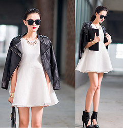 Ladykelly Wang - Mixmoss Dress, Mixmoss Leather Jacket - Black on White