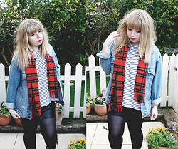 Sarah Worcester - 2nd Hand Tartan Scarf, Vintage Shop Denim Jacket, Topshop Top, Urban Outfitters Faux Leather Skirt - Tartan No.2