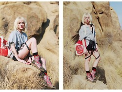 Alysha Nett - Dr. Martens Boots, Fuct Baseball Jersey, Fuct Baseball Bag, Unif Harness Shorts - Stand tall, stand proud, and fall for nothing.
