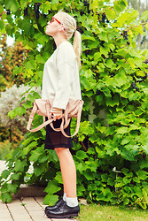 Elin H - Zara White Chunky Sweater, Weekday Nude Fine Knitt, H&M Nude Bag, Monki Mesh Overlay Pencilskirt - GRAPE JUICE