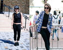 Izumi Nagai - Black Jeans, Knit Cropped Top, H&M Gold Choker, Tokyo London Cap, Uniqlo Plaid Shirt, Tokyo Creepers - Why'd You Only Call Me When You're High?