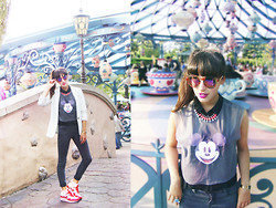 Barbara Malewicz - Spitfire Multicolour Sunnies, New Look Chiffon Shirt, H&M Fluo Necklace, Zara Light Mint Cotton Jacket, Diy/Handmade Mickey Mouse Crop Mesh Tshirt, New Look Skinny Cotton Pants, Nike Sneakers Airmax, Disneyland Park Mickey Mouse Ring - Mickey's my new boyfriend