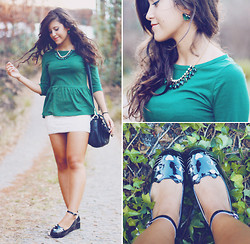 Daniela Gandra - Sheinside Peplum Top, Pull & Bear Lace Skirt, Imagens Da Dapi Earings, Imagens Da Dapi Statement Necklace, Romwe Platforms - Kitty cat plaftorms