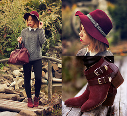 Wioletta Mary Kate - Stradivarius Boots, Lookbookstore Sweater, H&M Hat, Bershka Bag - Autumn Vibes #3