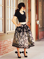 Hallie S. - Carven Shoes, Cropped Top, Full Skirt - Cropped Top and Full Skirt