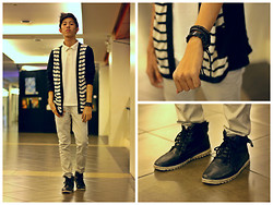 Remo Ballesteros - Oxygen Black Striped Cardigan, Cherokee Cream Collared Shirt, Sm Department Store Black Woven Bracelet, Local Thrift Store Black Leather Boots - Extra Pillar