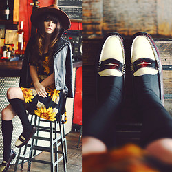 Rachel-Marie Iwanyszyn - Viparo Leather Jacket, Minkpink Sunflower Dress, Bass Weejun Loafers - THE BODEGA.