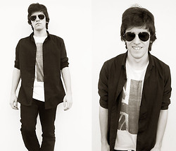 Claudio S - Topman Black Shirt, Topman Sunglasses - Ladytron - Destroy Everything You Touch