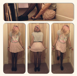 Amy K - My Little Pony Crop Top, Floral Skirt, Plain Black Creepers - I'm so ugly, but thats ok 'cause so are you.