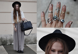Alina Reinisch - Oasap Hat, Claires Ring, Forever 21 Ring, H&M Ring, H&M Ring, Forever 21 Ring, Six Ring, Zara Bag, H&M Maxi Skirt, Jeffrey Campbell Coltrane Cut Out Boots, Forever 21 Sweater - MQ VIENNA FASHION WEEK