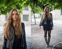 Jana Couture - Zara Leather Jacket, Massimo Dutti Dress - A sunny day in Autumn