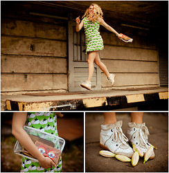 Sophia S - Isabel Marant Trainers, 3.1 Phillip Lim Clutch, Vintage Dress - Garlic Bulbs and Tulips