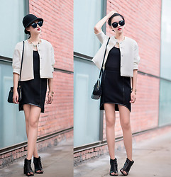 Ladykelly Wang - Mixmoss Coat, Mixmoss Dress - White on Black