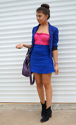 Marina Petrova - Reserved Blue Blazer, Choies Blue Skirt, Reserved Purple Bag, Humanic Ankle Boots, H&M Bracelet - Blue moon Part 2