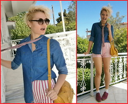 Olina Topsioti - Zara Shorts, Vintage Shoes, Jeans Shirt - Tie to work