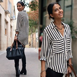 Milagros Plaza - Xxx Striped Blouse, Zara Black Panel Leather Pants - Laid-back friday