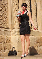 Catarine Martins - Zara Black Dress, Dolce & Gabbana White Sandals, Prada Baroque Suglasses - Spanish Guitar