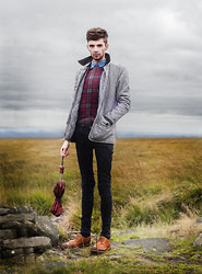 Matt Fielding - Topman Denim Shirt, Asos Tartan Check Tshirt, New Look Grey Quilted Jacket, Topman Black Skinny Jeans, Charity Shop Tartan Umbrella, Asos Tan Brogues - King in the North