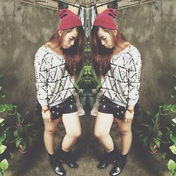Maria Inah Requerme - Thrifted Aztec Sweater, Cross Shorts, Extraordinaryshop Black Oxford Boots, Maroon Bonnet - Hipster Kinda Weather