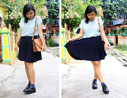 Ollyvia Laura - Gosh Black Creepers, A L'avevglette Pleated Skirt, J.Rep Brown Leather Sling Bag, Cokelat Floral Tee, Chili Socks Playful - 09212013