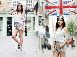 Bernadeth G. - Topshop Skul Cropped Top, Swank Studded Shorts, Persun Winged Shoes, Ebay Go Ride Cap - Ayo GG at London!