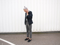 Zoé Hermsen - Mango Coat, Vans Shoes, Monki Trousers - Black Grey