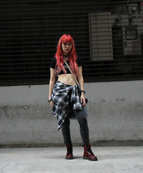 Nicole Ngaise - Claire's Choker, O Mighty Weekend 'Stay Creepy' Crop Top, Uniqlo Jeans, Dr. Martens Boots - Bittersweet