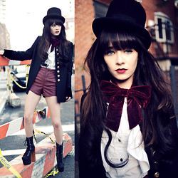 Rachel-Marie Iwanyszyn - Bailey Top Hat, H&M Military Jacket, Jeffrey Campbell Bigger Shoe, Topshop Bow, Old White Blouse - HOW TO BE DAPPER.