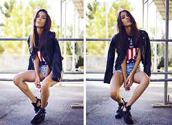 Sofia Reis - H&M Jacket, Chicnova Top, Sheinside Shorts, Wholesale7 Boots - Be above it