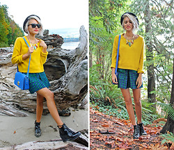 Alanna Durkovich - H&M Sweater, Zara Plaid Skirt, Rampage Patent Boots, London Fog Purse - Joyously Fall in Primary Hues