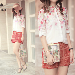 Mayo Wo - Romwe Rose Print Shirt, Topshop Sequined Shorts, Melissa Mary Jane Heels - Rose bomb