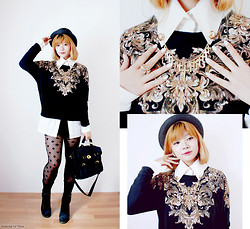 InspiringThing ♡ - H&M Black Hat, Zara Gold Printed Sweater, Selfmade White Blouse, Primark Tight, Vietnam Bag, Six Collar Clips, Iam Crystal Ring - Fall´ing in Love