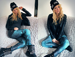 Tess Kay - Beanie, Glamorous Leatherjacket, H&M Longshirt, Urban Outfitters Leggins, Sacha Shoes Bikerboots - BAD HAIR DAY
