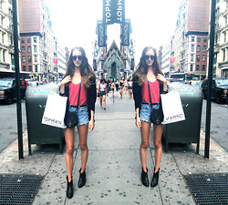 Sophie R. - Vintage Top, Urban Outfitters Sunnies, Levi's® Shorts - SoHo Shopping