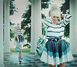 Kerti P. - Stylelately.Com Cutout Sweater, Selfmade Denim Skirt, Vintage Belt, Romwe Mint Bag - Wind up the music box and it begins to play.