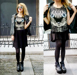 Chanssy X. - Topshop Kitty Black Dress, Black Buckled Platform Boots, Forever 21 Leather Stud Vest - † Kitty from Wild Kingdom †